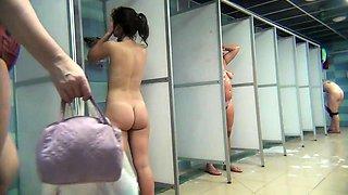 Voyeur spying on delightful Russian girls taking a shower