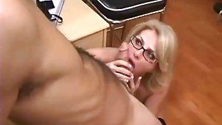 Hot Mature Secretary seducing younger boss