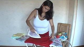 Romina Lopez - Ironing sexy busty girl softcore