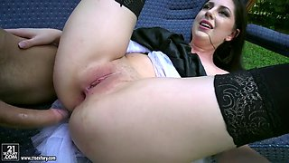 Miranda miller in stockings gets assfucked on the bench