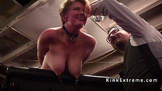 Mistress makes slave sucks her strap on