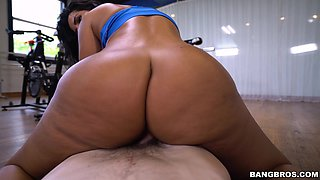 Interracial fucking on the gym floor with cock hungry Rose Monroe