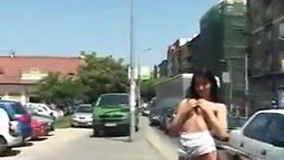 Housewife flashing in public