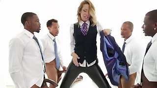 Office slut had a very dirty gang bang dream involving BBC