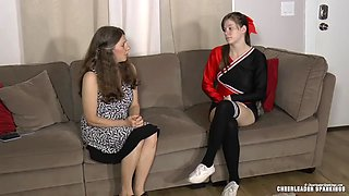 A bully cheerleader is spanked by her stepmom