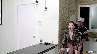 Awesome cowgirl fuck in the kitchen with energetic Paola Guerra
