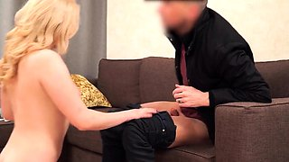 DEBT4k. Blonde hairdresser wants to buy furniture