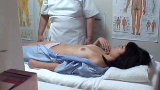 Hairy Jap chick gets a creampie in massage hidden cam video