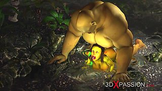 Horny female goblin Arwen and Green monster Ogre in the enchanted forest