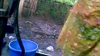 Indian college girl outdoor bath