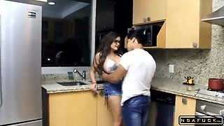 Kinky Brunette Mom Fucked By A Young Guy In The Kitchen
