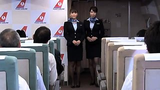 Alluring Asian stewardesses having fun with the passengers