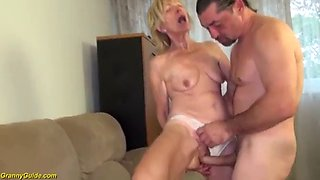 Extreme horny 81 years old skinny granny with saggy tits gets rough big cock fucked by her stepson