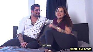 brunette pornstar casting with cumshot clip