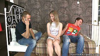 Sextractive milk skinned Russian teen gets banged by two dudes