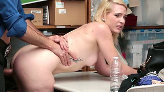 Kinky blondie is suspected for stealing lingerie and gets punished with hard fuck