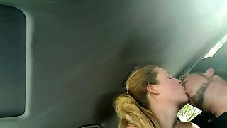 Luscious amateur blonde delivers a hot blowjob in the car