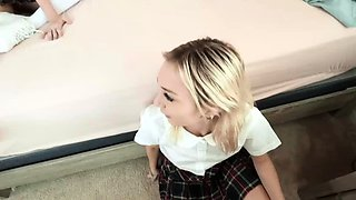Schoolgirls Chloe Temple and Riley Star fucked by lucky guy