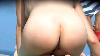 Nudist hairy pussy filmed voyeur at the beach