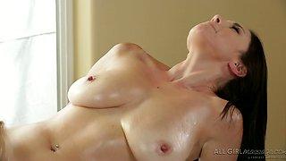 Sexy blondie and slutty brunette have steamy 69 pose sex in massage parlor