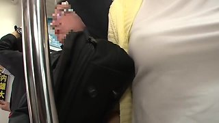 Japanese chick with big tits and perky nipples got fucked in the train and liked it