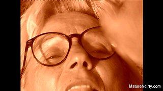 Blonde Grandma Gets Some Cum On Her Glasses - Mature'NDirty