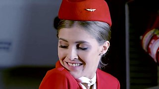 Rhiannon Ryder - Beauty Stewardess During The Flight, Gets Fucked With The Second Pilot
