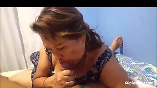 Latina old mom is doing a lucky guy