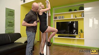 Innocent pole dance turned into nice dad and  sex