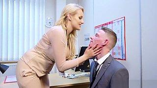 Buxom bombshell boss turns a virgin into a bad boy