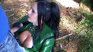The Green Busty Blowjob Witch - Outdoor Latex Blowjob Handjob - Cum on my Tits