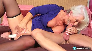 Silver Hair Granny Ass Fucking With Young Guy