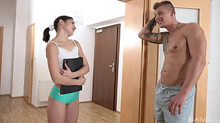 Horny room-mate Mina Leigh drops her panties to be fucked good