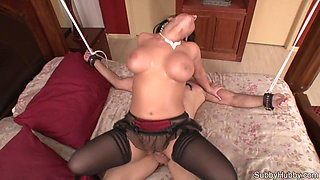 Mistress rides tied up slave and then feeds him his cum