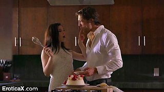 Just married couple is cooking together and making love like there's no tomorrow
