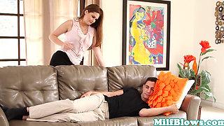 Pornstar Allison Moore deepthroating dick
