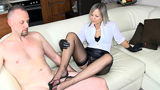 Cfnm femdom hotties shave fetish cfnm loser for domination