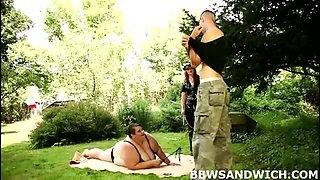 FAT dominatrix Monika & Amy in threesome