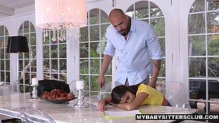 Latina babysitter gargles spunk through her braces