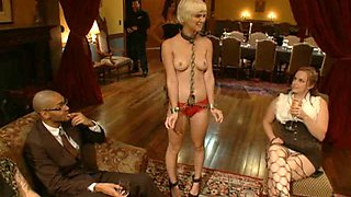 Blonde Sex Slave Abused and Double Penetrated in BDSM Group Sex