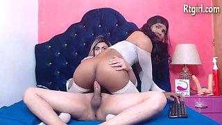 Ebon Latin Chick Tgirl Riding White Penis