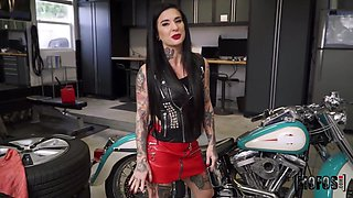 Van Wylde And Joanna Angel In Biker Babe Wants To Ride Everything In The Shop