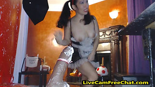 Asian Maid Huge Creampie Cum Load in Pussy
