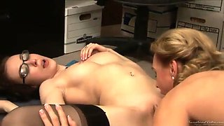 Secretary comforts her distraught boss