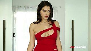 Seductive white babe Valentina Nappi rubs her booty all over BF's big bulge