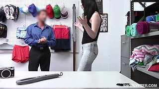 Pale guilty brunette Aliza Haze spreads legs to be fucked missionary