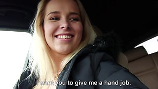 Beautiful blonde from Czech gives cameraguy's blowjob in car