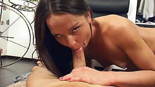 Petite little slut riding a terrific dong with so much passion