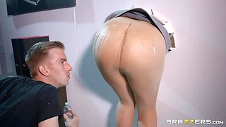 Stuck secretary gets properly fucked by aroused naughty and curious dude