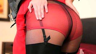 Brunette glamour in black pantyhose